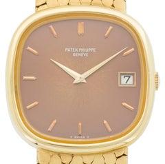 Patek Philippe Yellow Gold Jumbo Ellipse Wristwatch with Matching Cufflinks