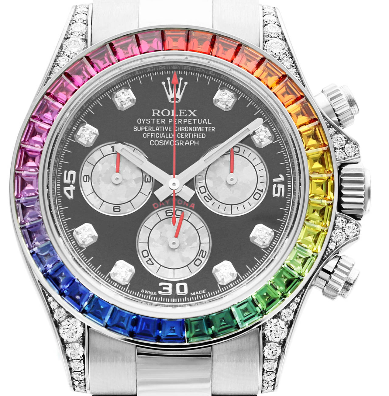 rolex white gold daytona rainbow chronometer wristwatch ref 116599 at 1stdibs. Black Bedroom Furniture Sets. Home Design Ideas