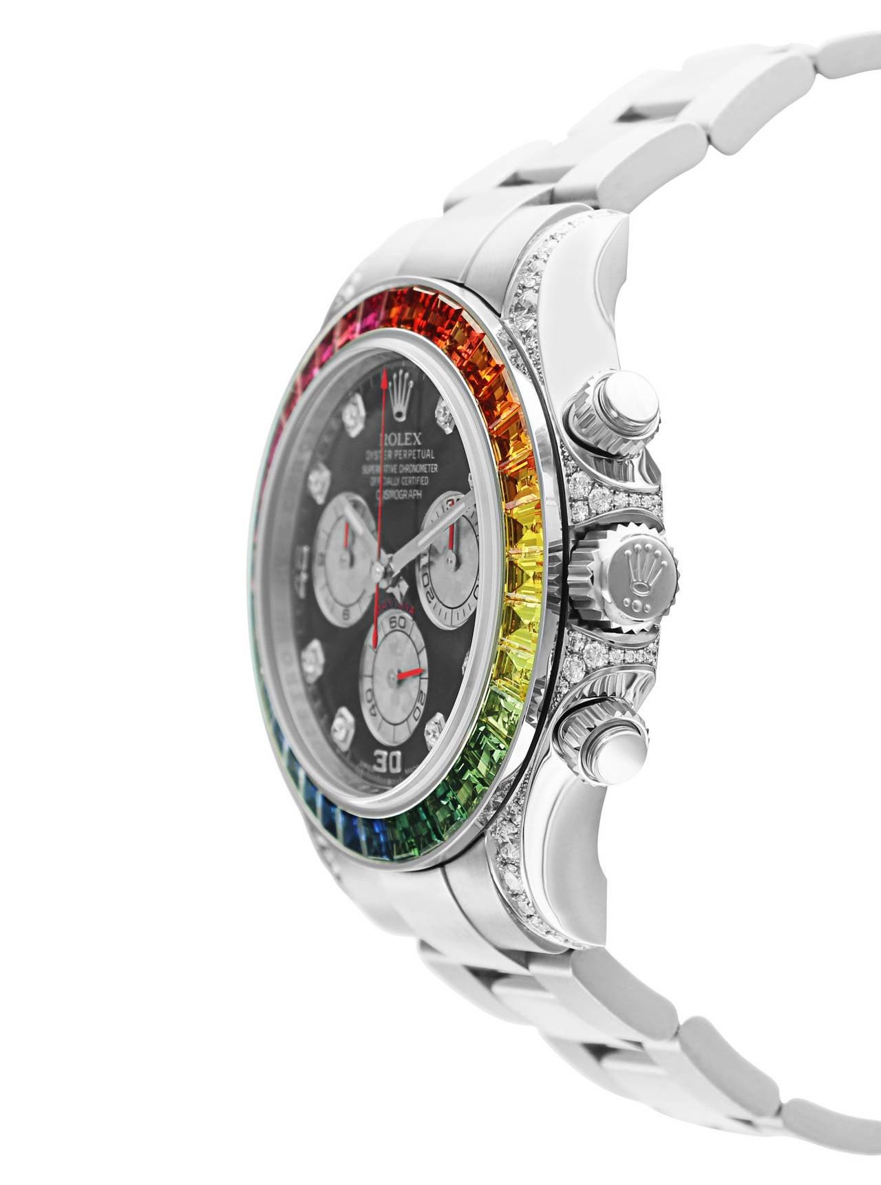 Rolex White Gold Daytona Rainbow Chronometer Wristwatch Ref 116599 3
