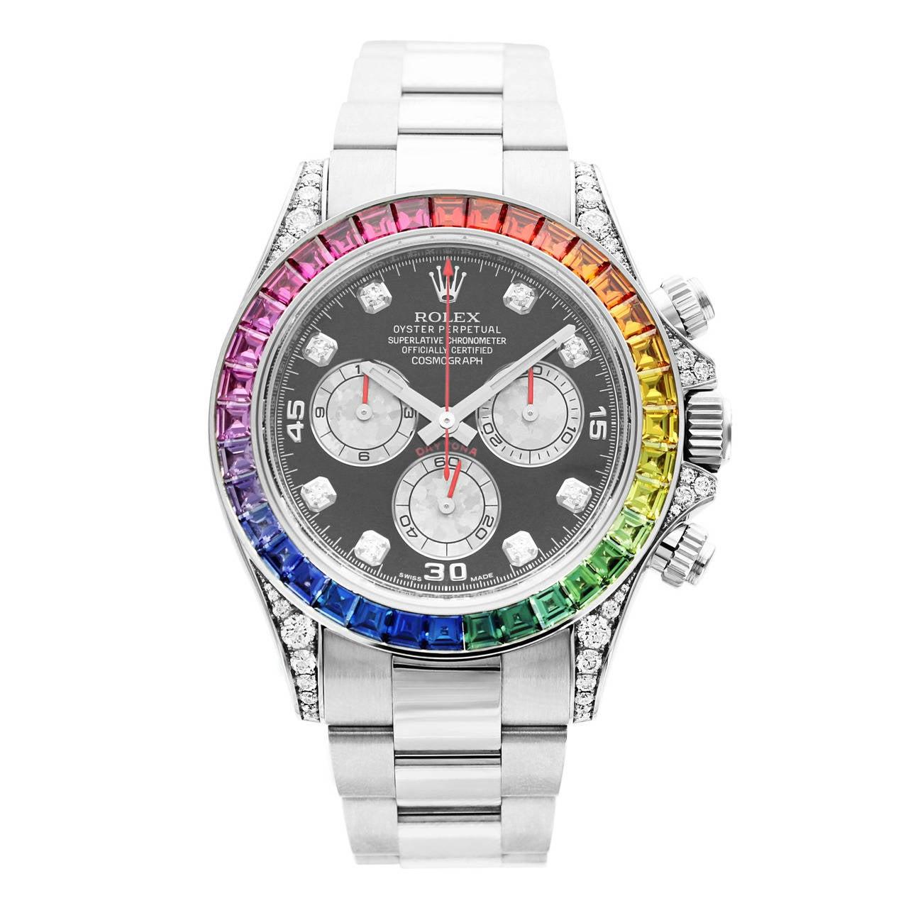 Rolex White Gold Daytona Rainbow Chronometer Wristwatch Ref 116599 1