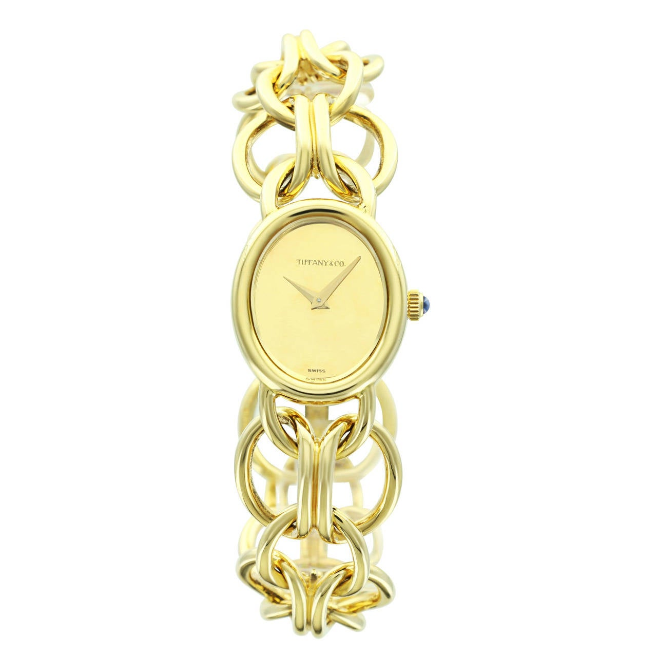 Tiffany & Co. Lady's Yellow Gold Champagne Dial Bracelet Watch