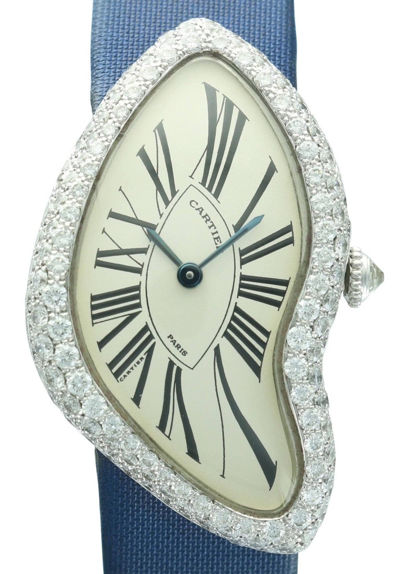 Cartier White Gold Crash Diamond Bezel Wristwatch 2
