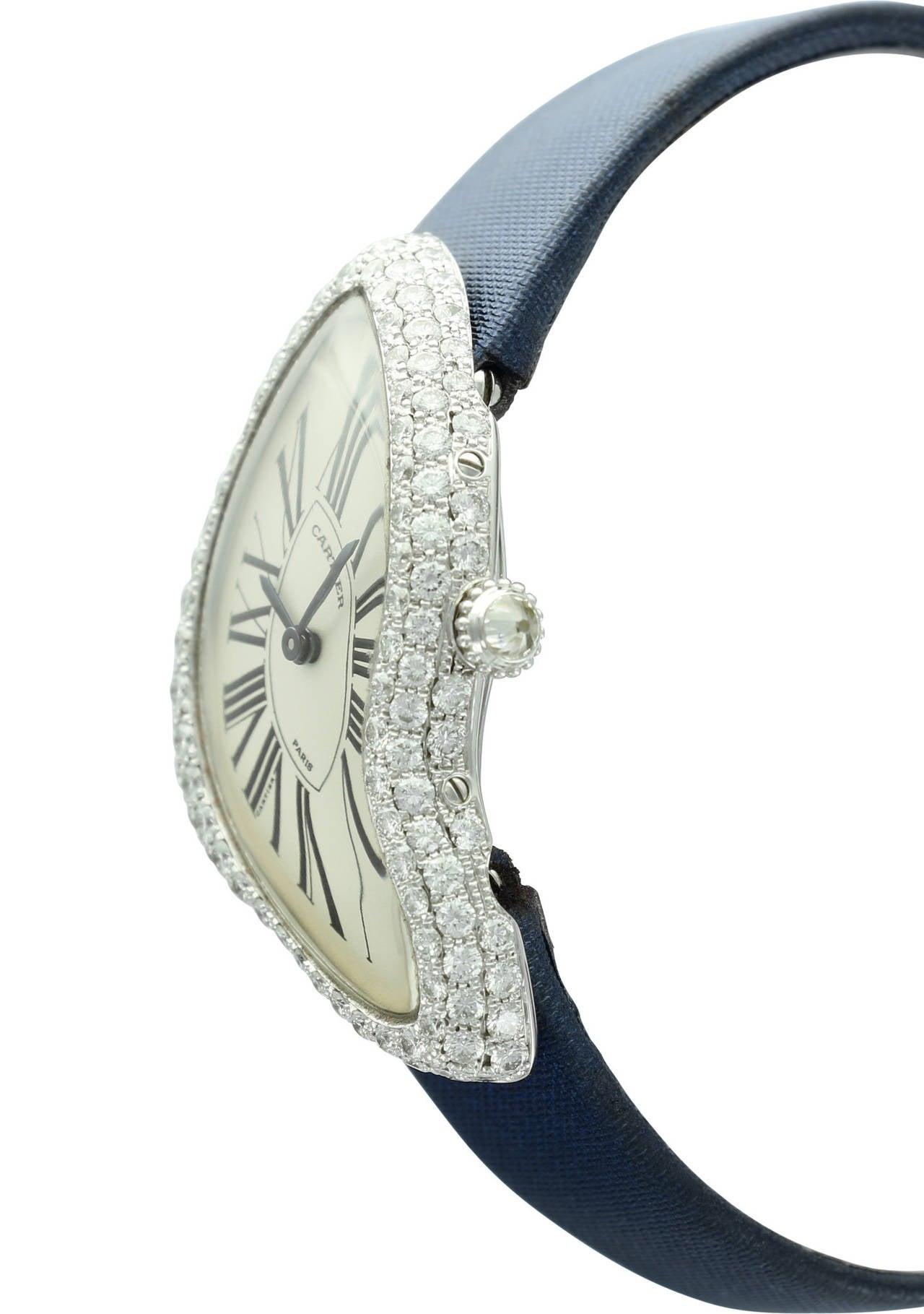 Cartier White Gold Crash Diamond Bezel Wristwatch 3