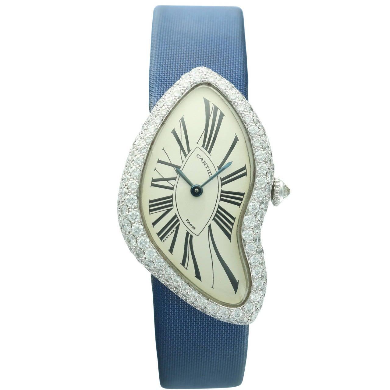 Cartier White Gold Crash Diamond Bezel Wristwatch 1