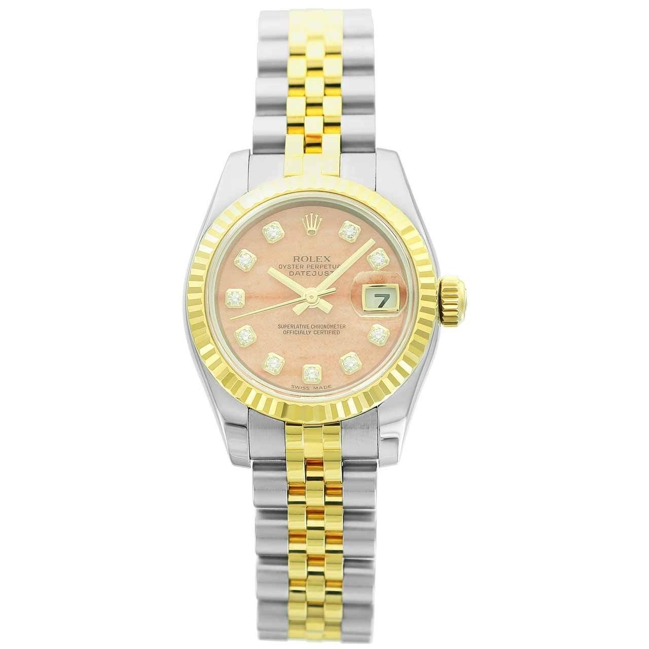 Rolex Lady's Two Color Gold Datejust Coral Diamond Dial Wristwatch Ref 179173