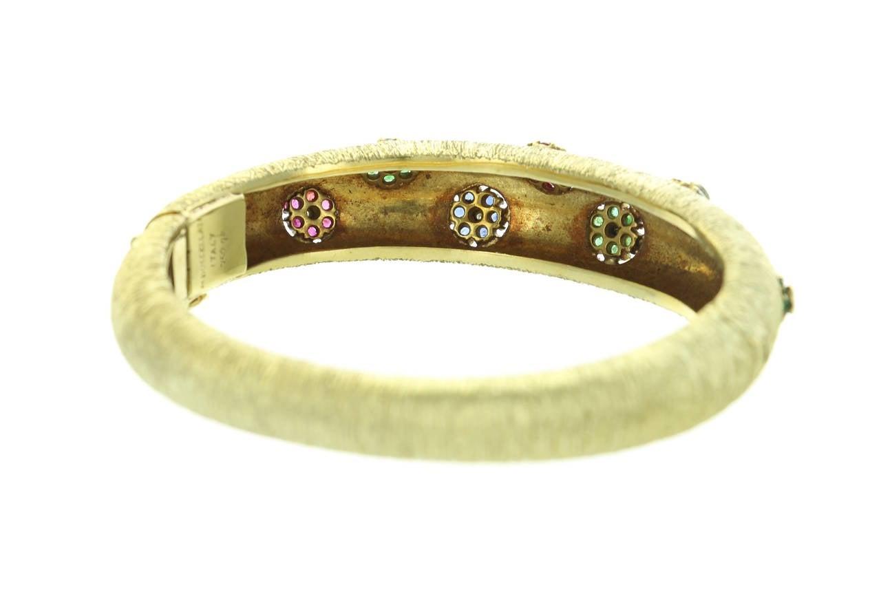 Women's 1960s Buccellati Ruby Sapphire Emerald  Diamond Gold Bangle For Sale