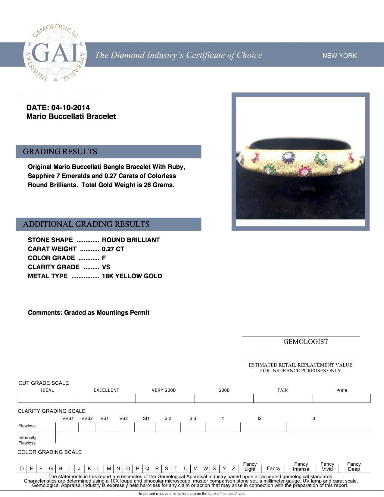 1960s Buccellati Ruby Sapphire Emerald  Diamond Gold Bangle For Sale 6