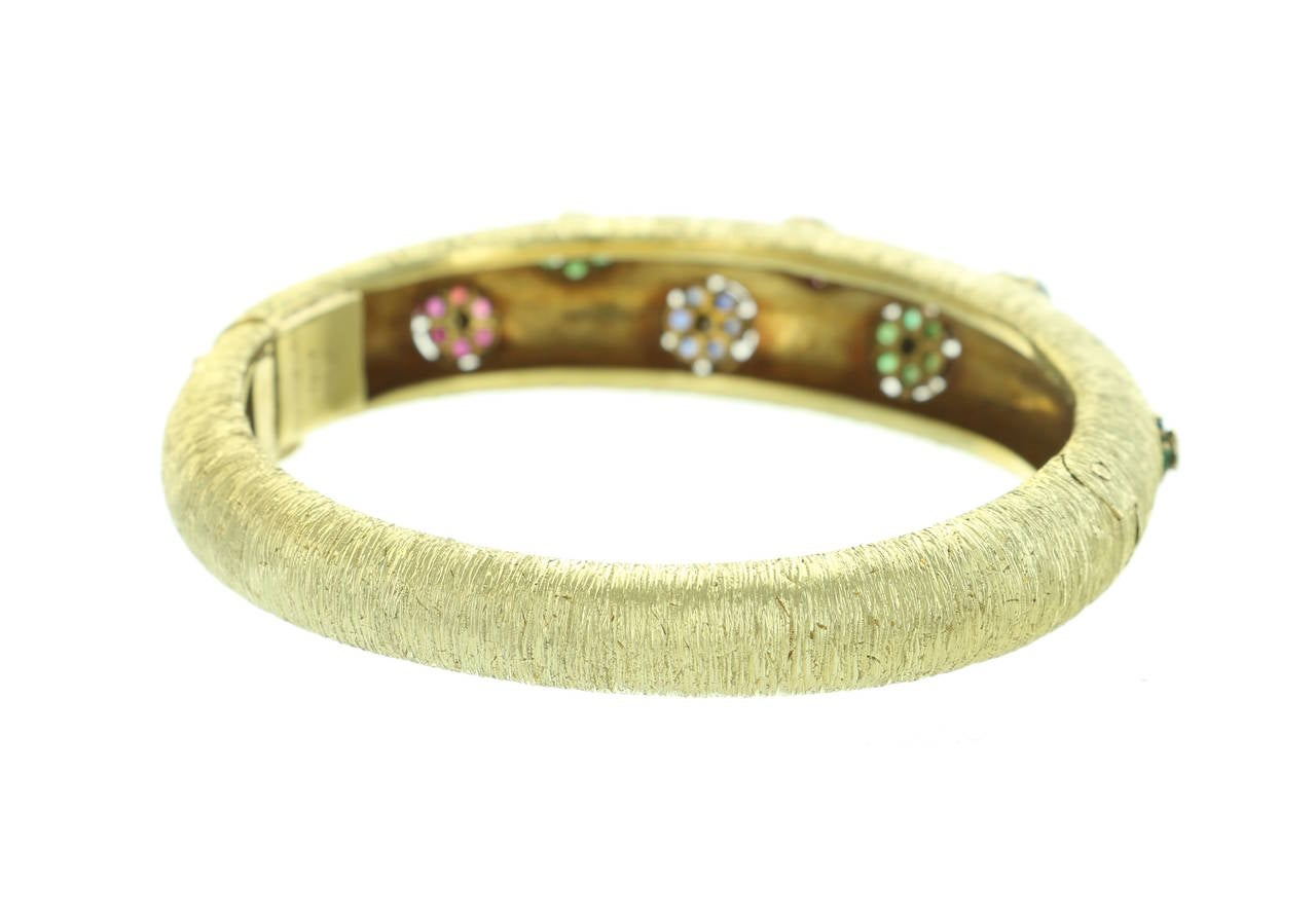 1960s Buccellati Ruby Sapphire Emerald  Diamond Gold Bangle In Excellent Condition For Sale In Beverly Hills, CA