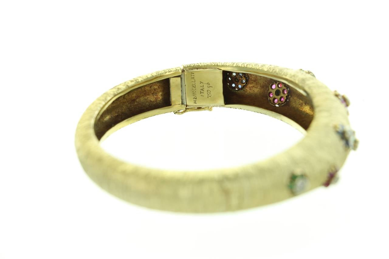 1960s Buccellati Ruby Sapphire Emerald  Diamond Gold Bangle For Sale 2