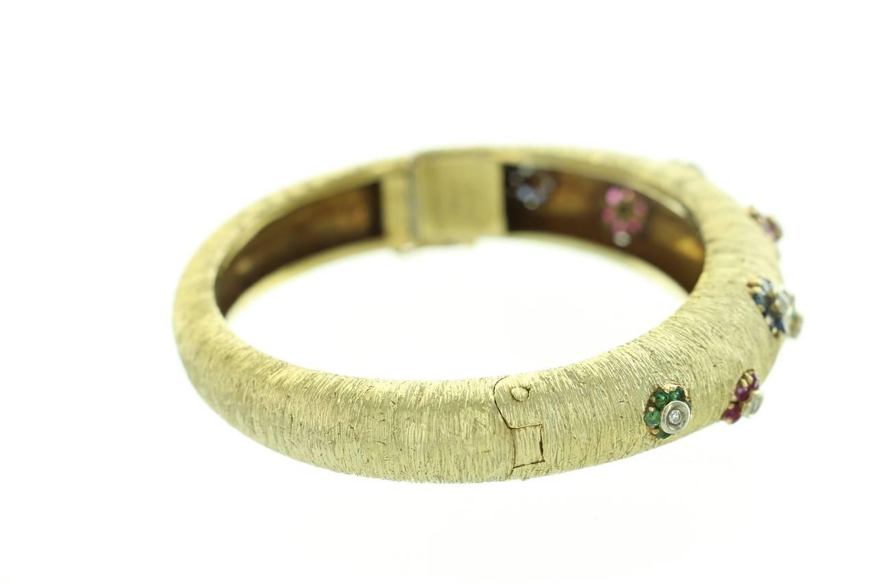 1960s Buccellati Ruby Sapphire Emerald  Diamond Gold Bangle For Sale 3