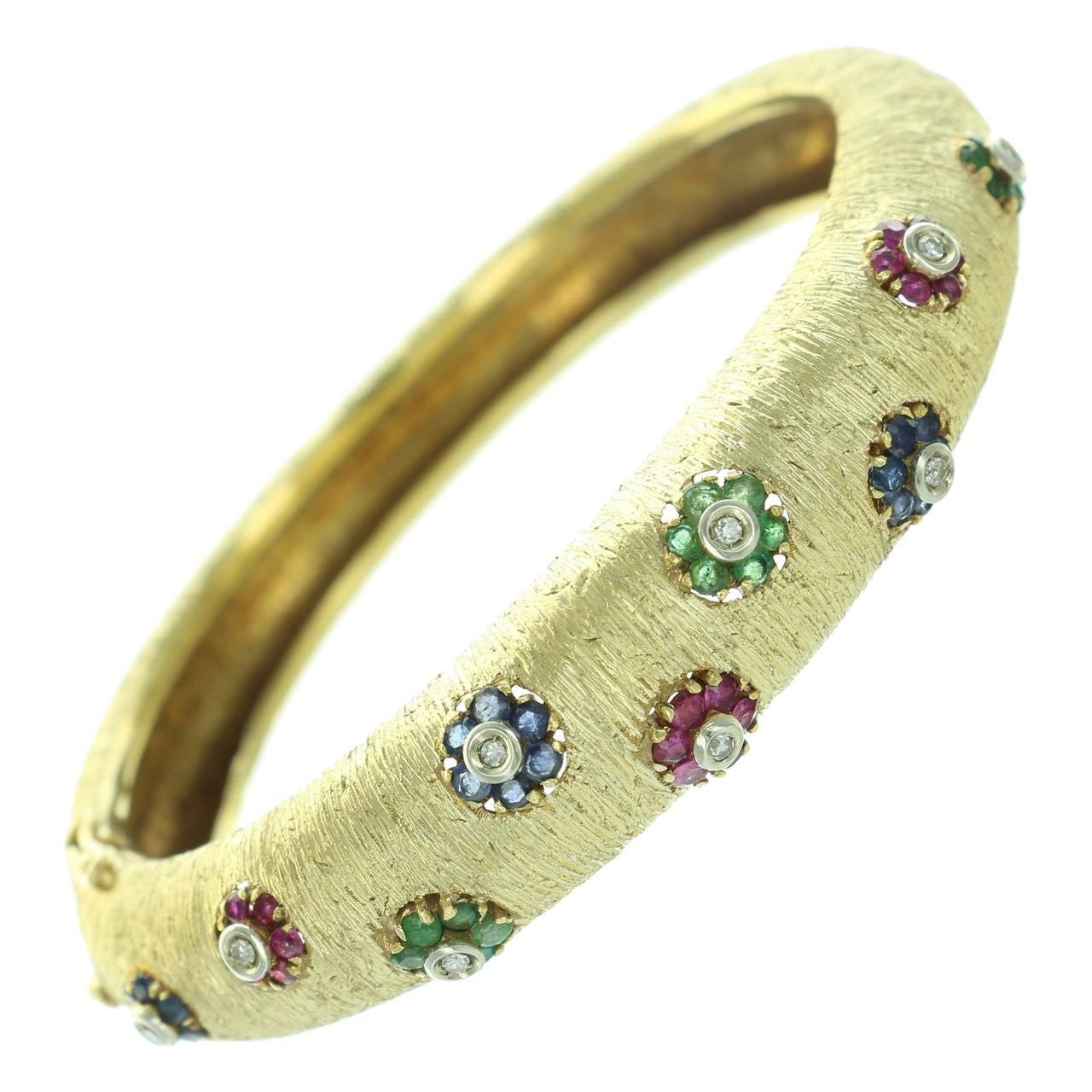 1960s Buccellati Ruby Sapphire Emerald  Diamond Gold Bangle For Sale
