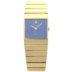 Rolex Lady's Yellow Gold Queen Midas Lapis Dial Wristwatch