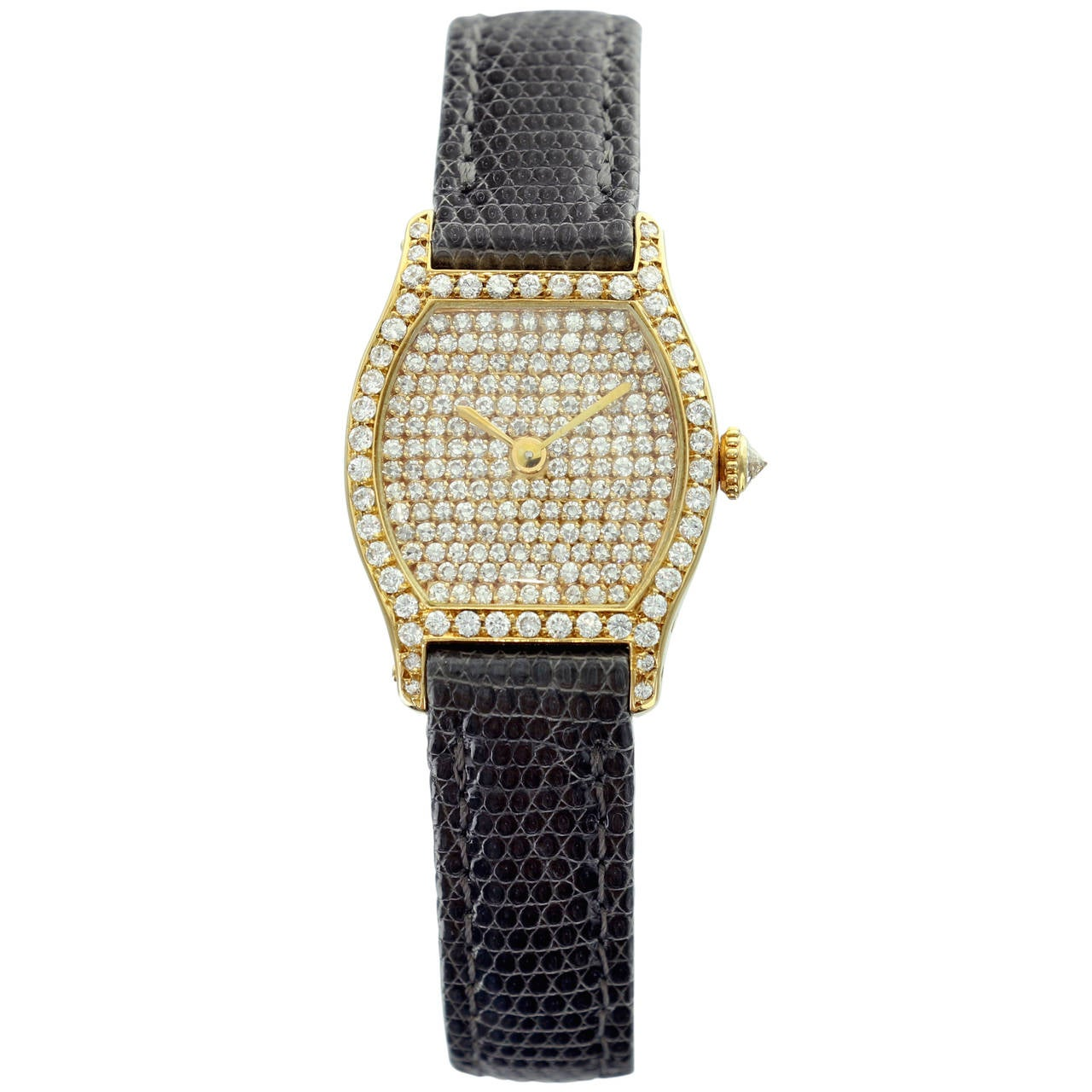 Cartier Yellow Gold Diamond Pave Dial Tortue Wristwatch
