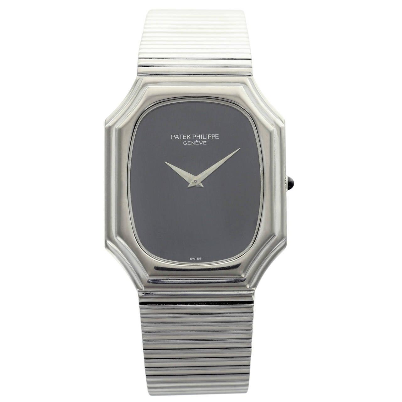 Patek Philippe White Gold Black Dial Wristwatch Ref 3729 1