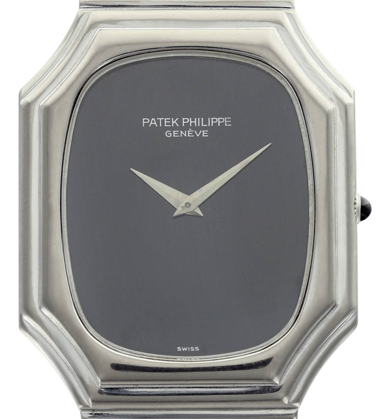 This rare and unusual Patek Philippe reference 3729 is a beautiful retro design with the original white gold Patek Philippe band and simple black dial.