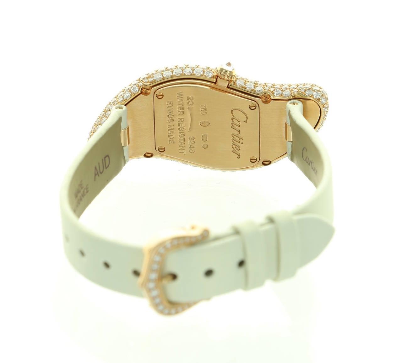 Cartier Lady's Rose Gold Baignoire Wristwatch Ref 3248 5