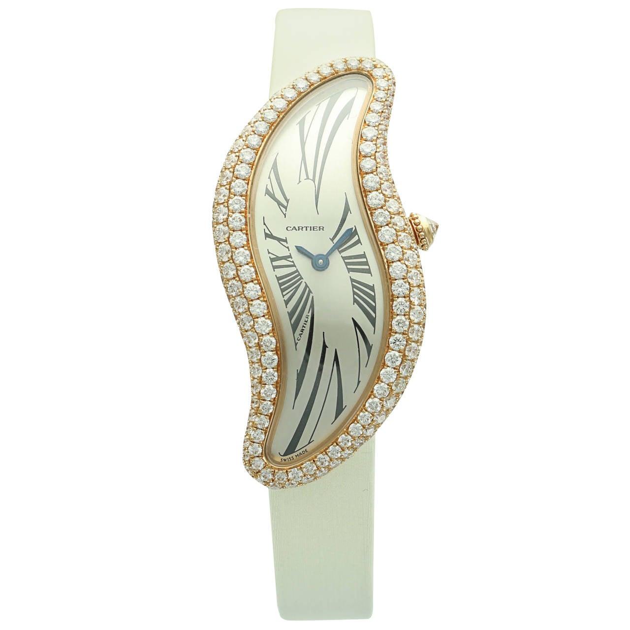 Cartier Lady's Rose Gold Baignoire Wristwatch Ref 3248 1