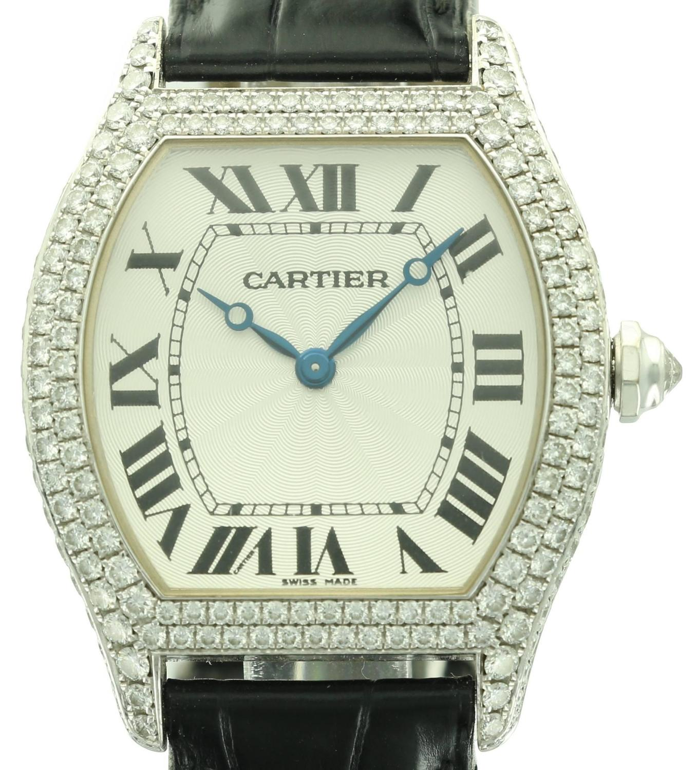 White Gold and Diamond Cartier Tortue Watch at 1stdibs