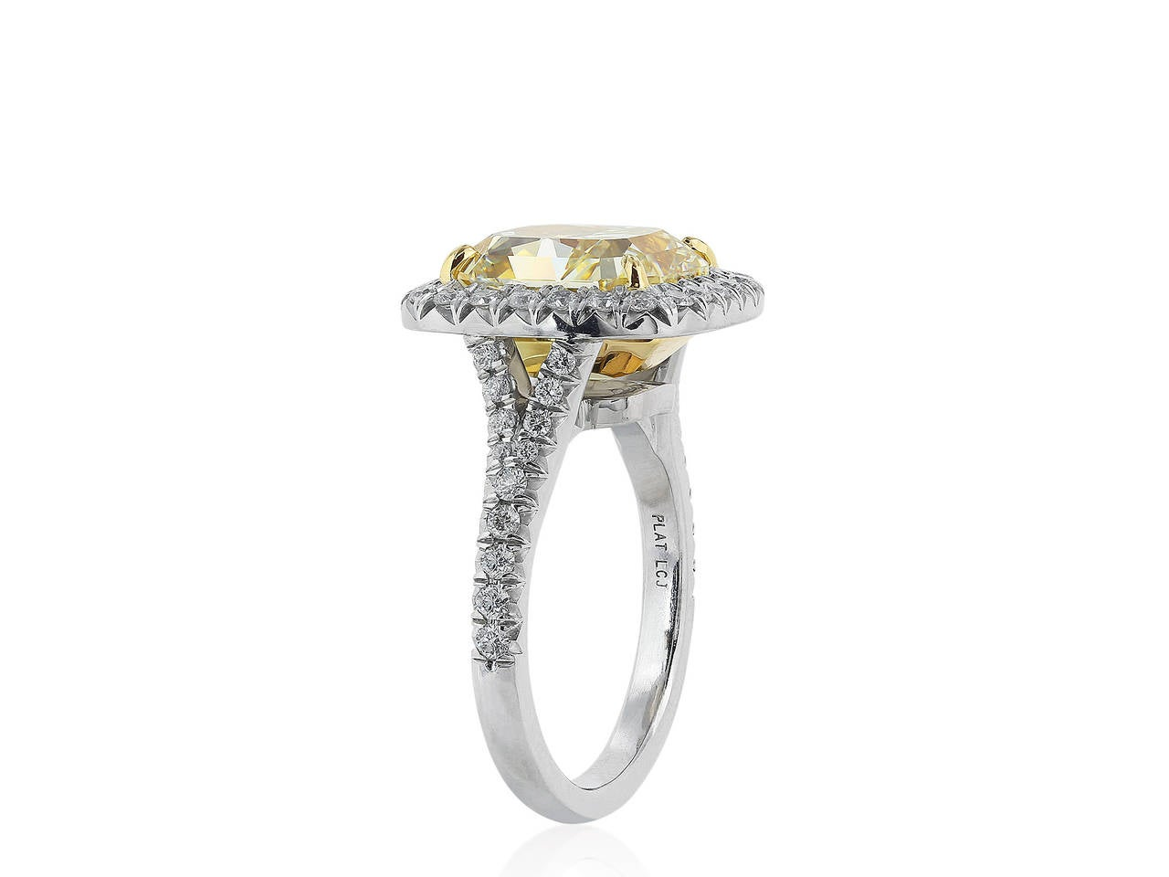 Radiant Cut GIA Cert. 5.27 Carat Fancy Yellow Diamond Engagement Gold Platinum Ring For Sale