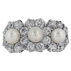 Pearl Diamond Gold Platinum Cluster Ring