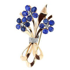 Vintage Rose Gold Sapphire and Diamond Floral Brooch