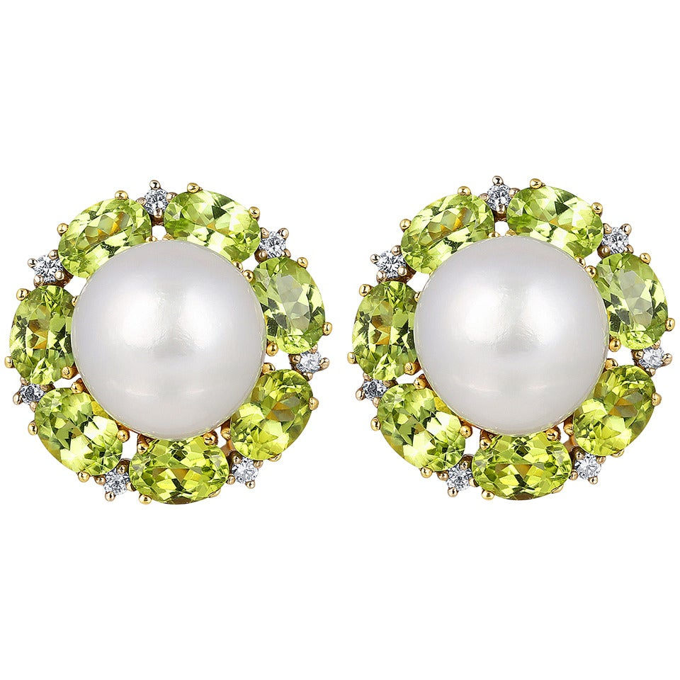 South Sea Pearl Peridot Diamond Gold Earrings For Sale