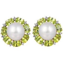 South Sea Pearl Peridot Diamond Gold Earrings