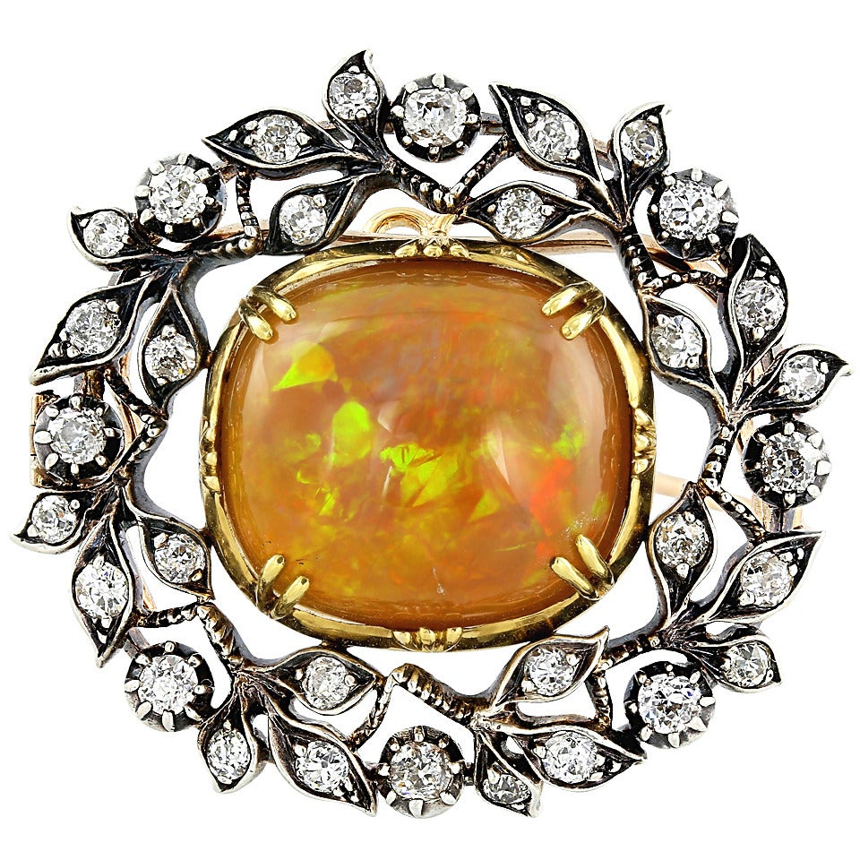 Edwardian Opal Diamond Silver Gold Pin