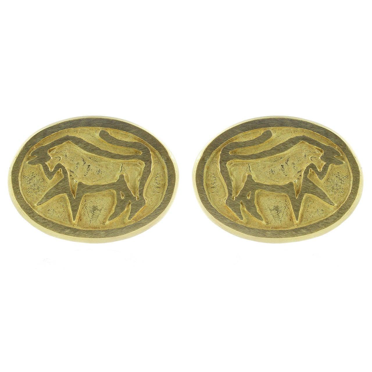 Cartier Gold Taurus Cufflinks For Sale