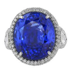20.86 Carat Ceylon Sapphire Diamond Platinum Ring