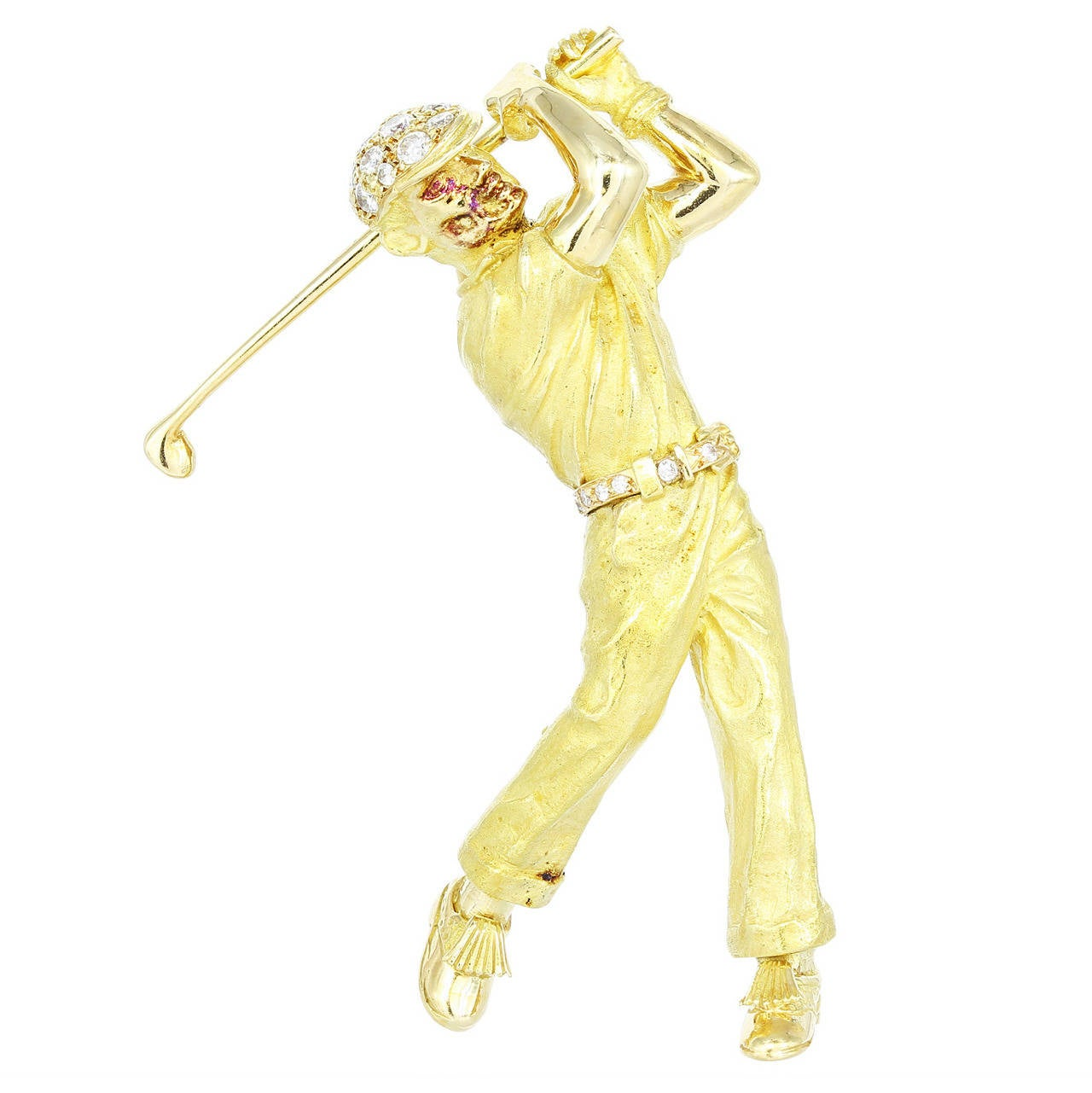 Golfer Pin Diamond 18 Karat Yellow Gold