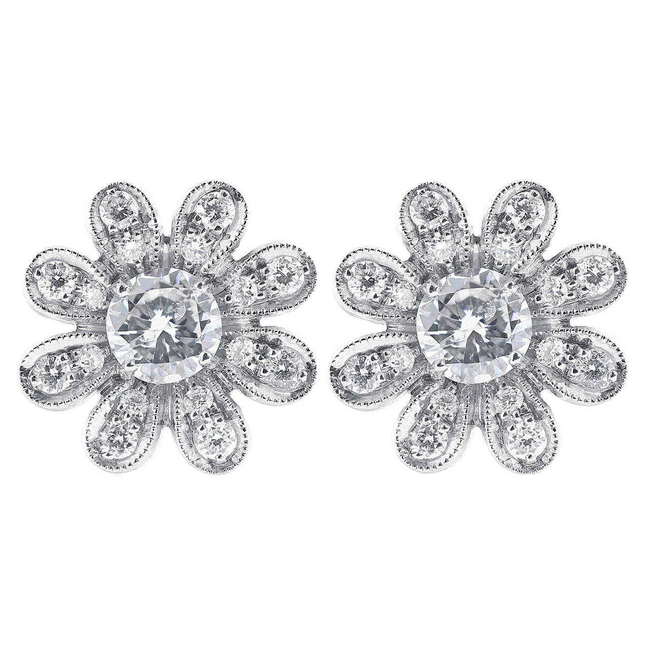 Diamond Gold Flower Stud Earrings