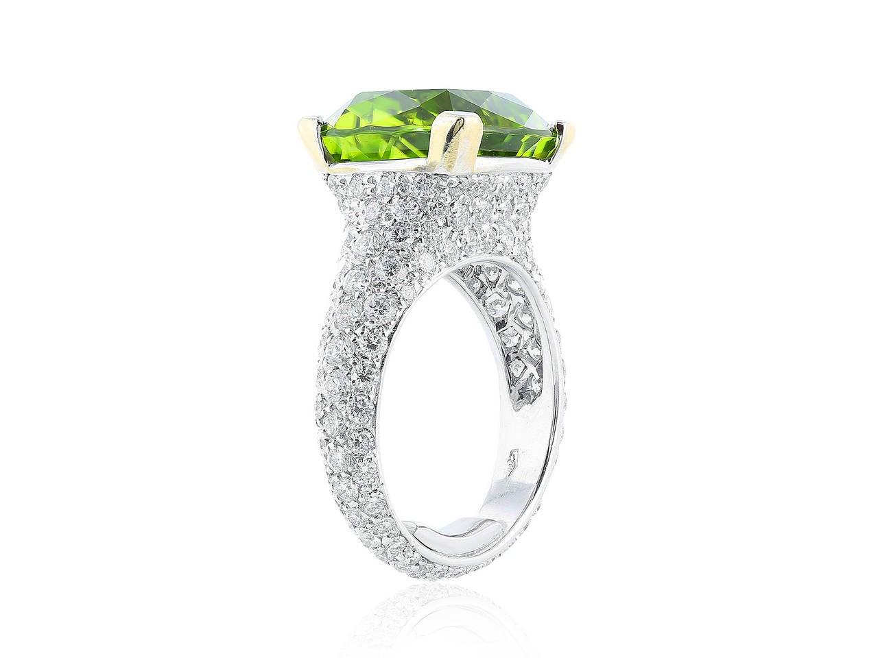 Peridot Pave Diamond Gold Ring 2