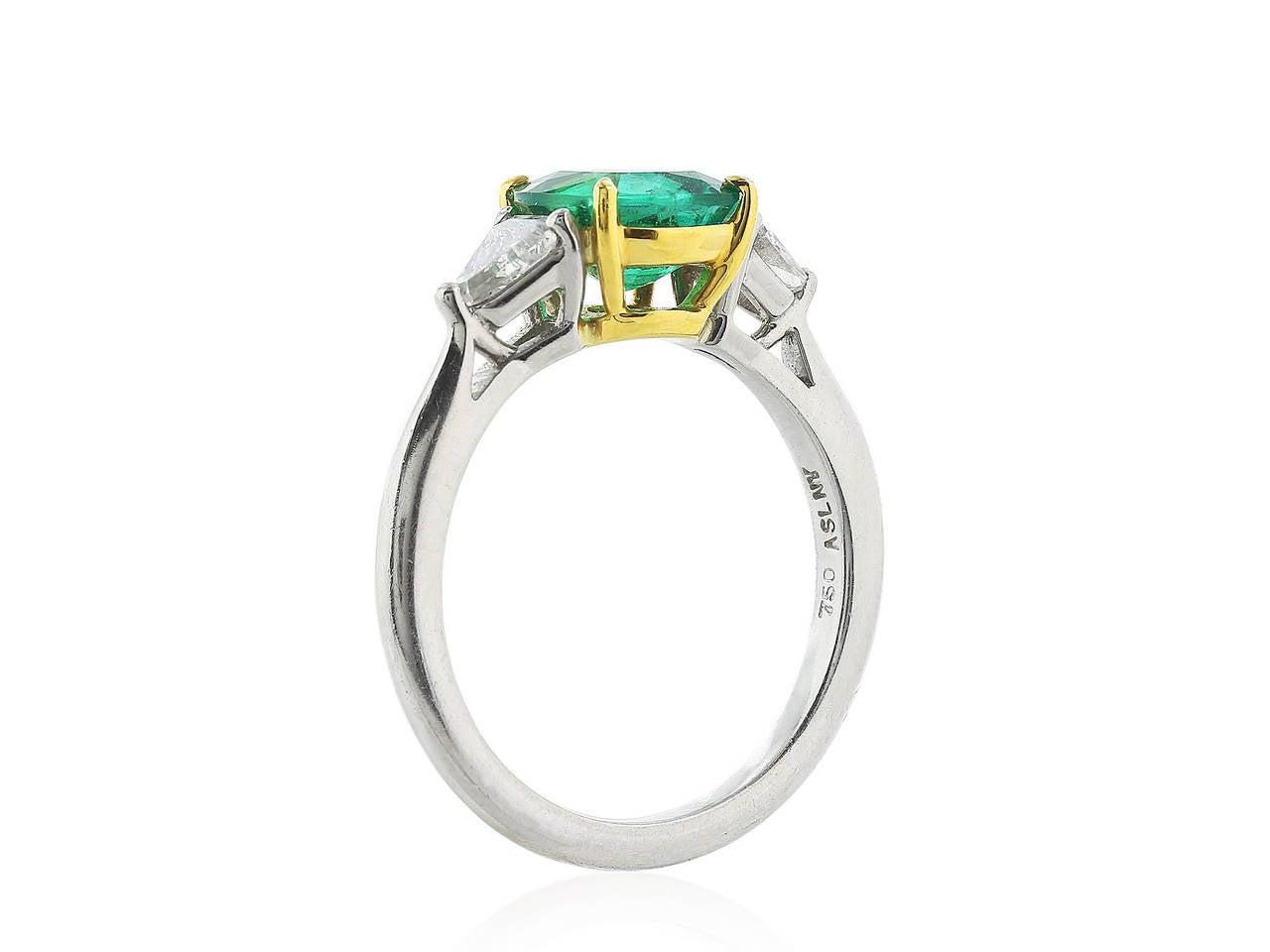 Emerald Diamond Gold Platinum Three Stone Ring at 1stdibs