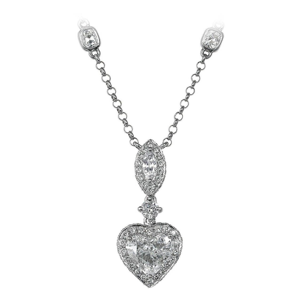 1.06 Carat Diamond Gold Heart Necklace 1
