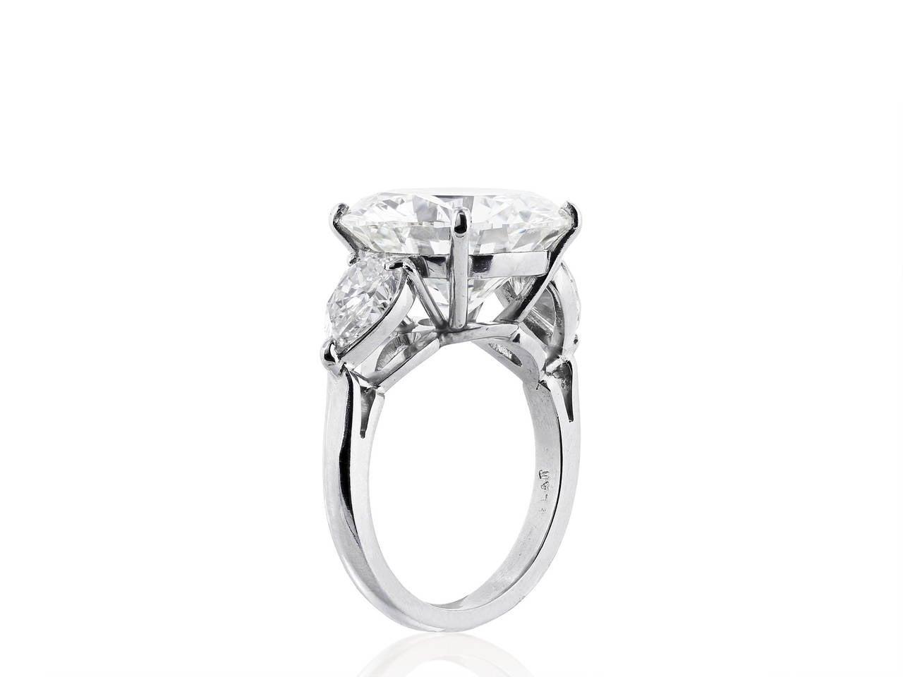 9.20 Carat GIA Cert Diamond Platinum Three Stone Engagement Ring 2