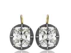 8.78 Carats GIA Cert Diamonds Silver Gold Drop Earrings