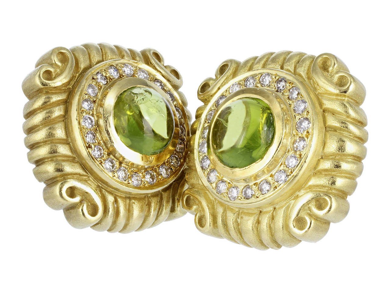 Peridot Diamond Gold Earrings 2