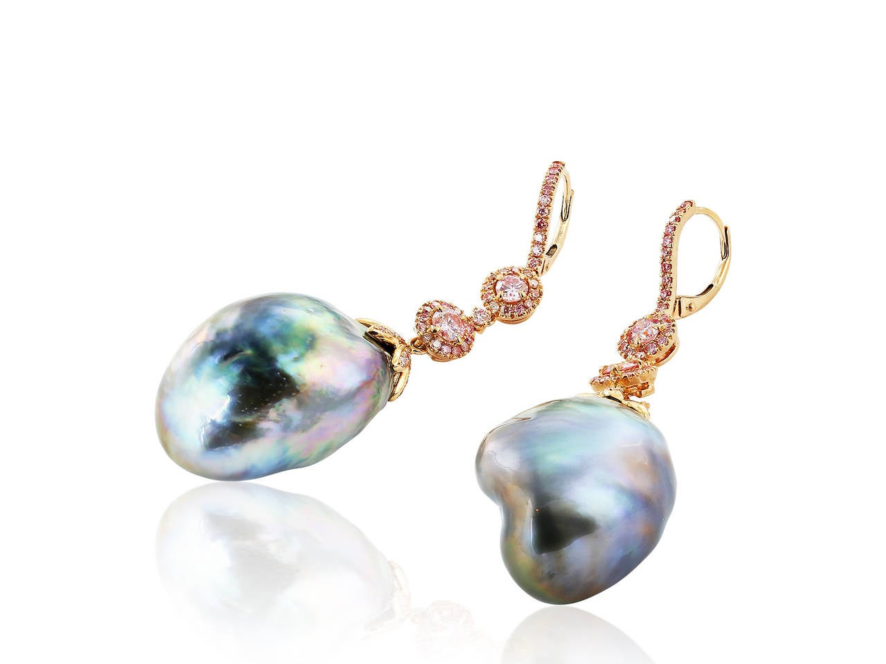 South Sea Pearl Diamond Gold Drop Earrings 3