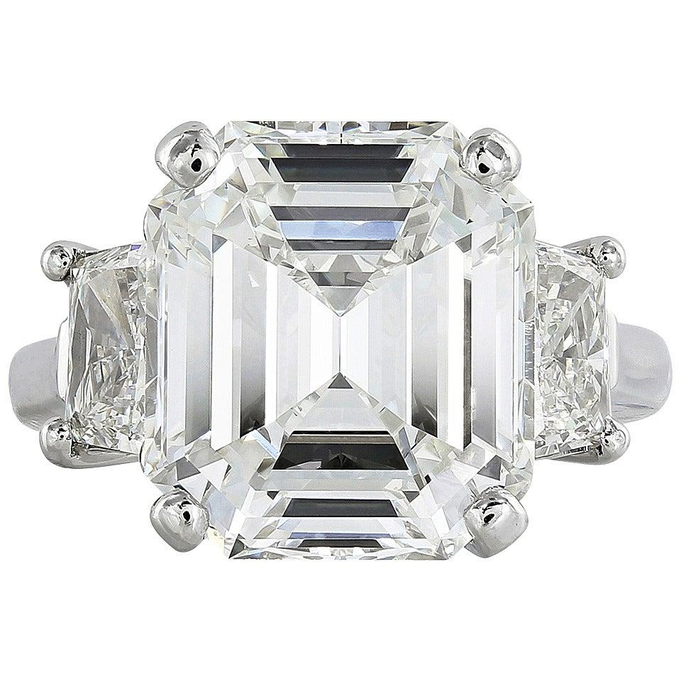 9 01 carat emerald cut cert platinum