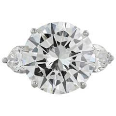 9.20 Carat GIA Cert Diamond Platinum Three Stone Engagement Ring