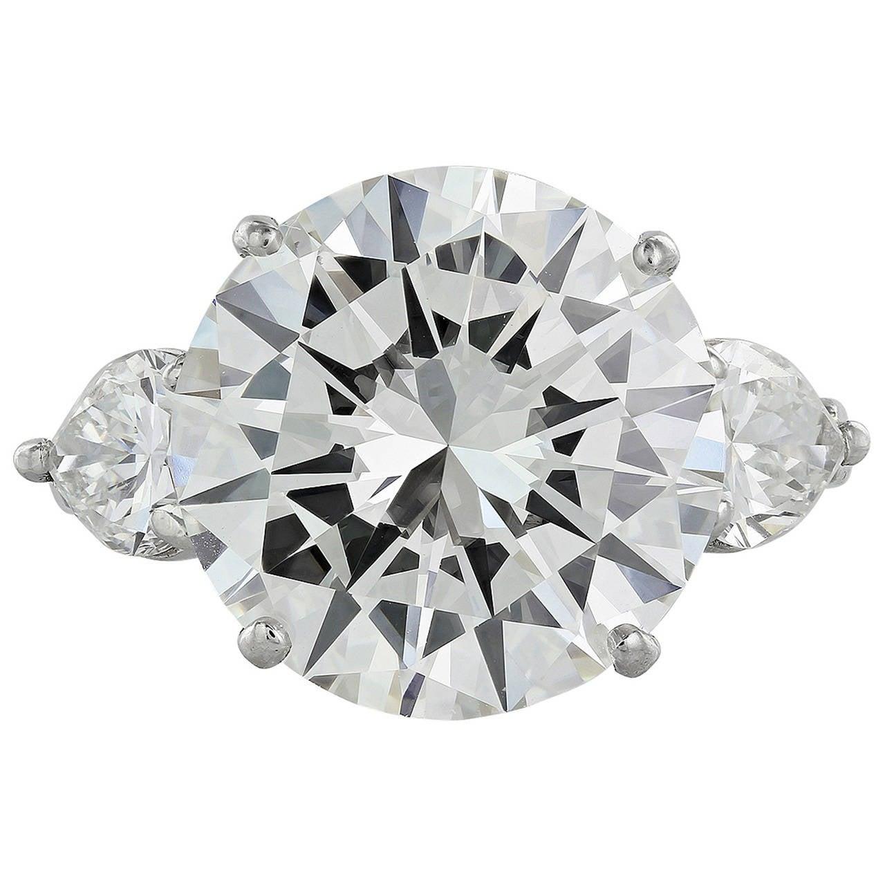 9.20 Carat GIA Cert Diamond Platinum Three Stone Engagement Ring 1