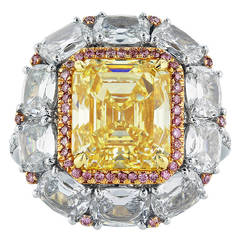 5.08 Carat GIA Cert Fancy Intense Canary Diamond Gold Platinum Cluster Ring