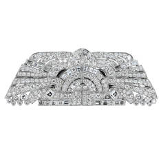 Art Deco Diamond Platinum Geometric Motif Double Clips Pin