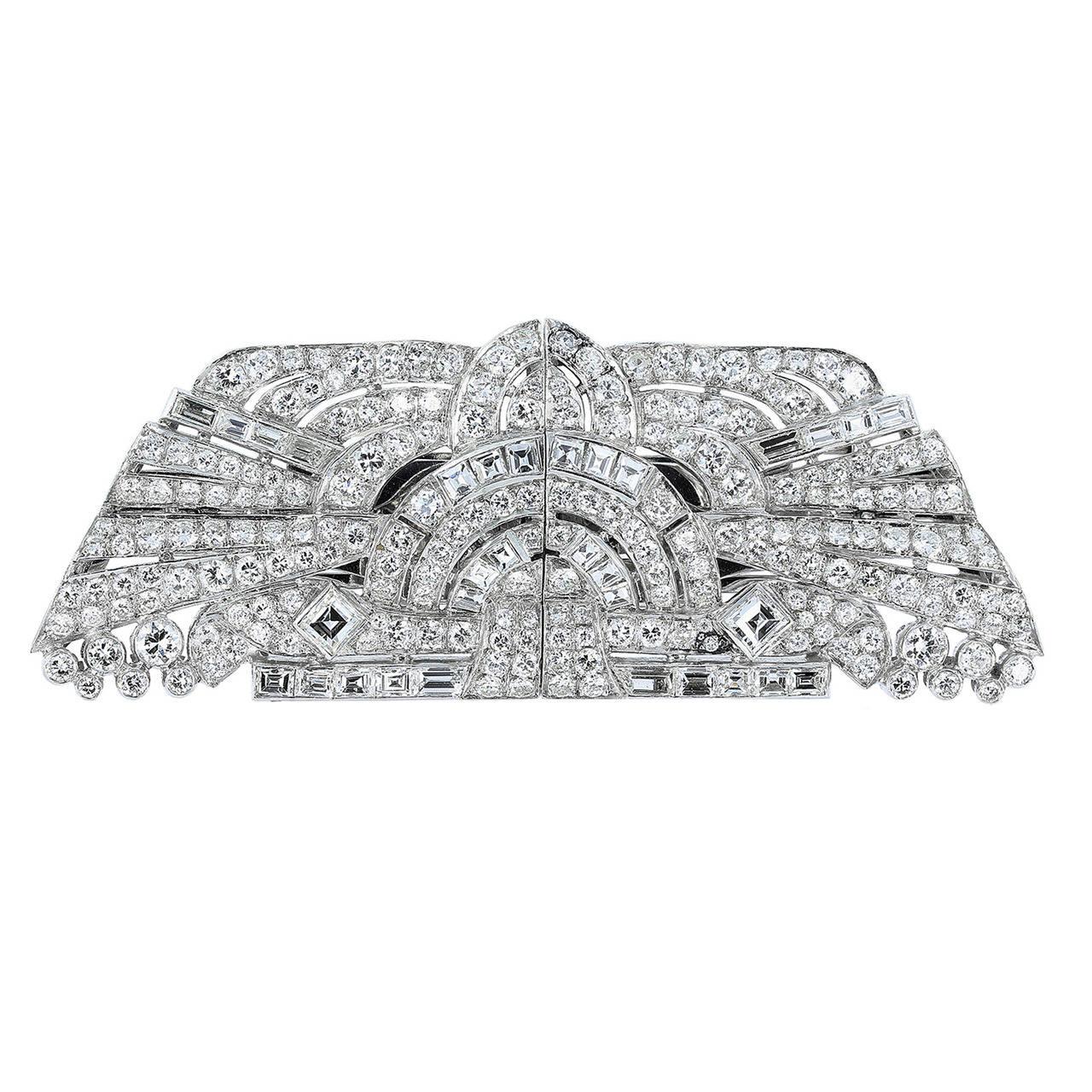 Art Deco Diamond Platinum Geometric Motif Double Clips Pin