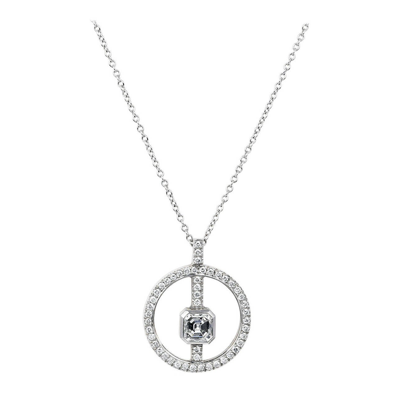 Asscher Diamond Circle Pendant For Sale