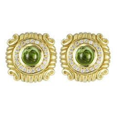 Peridot Diamond Gold Earrings