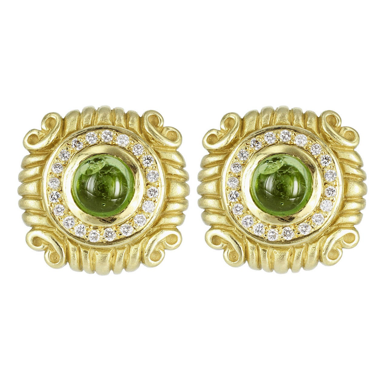 Peridot Diamond Gold Earrings 1