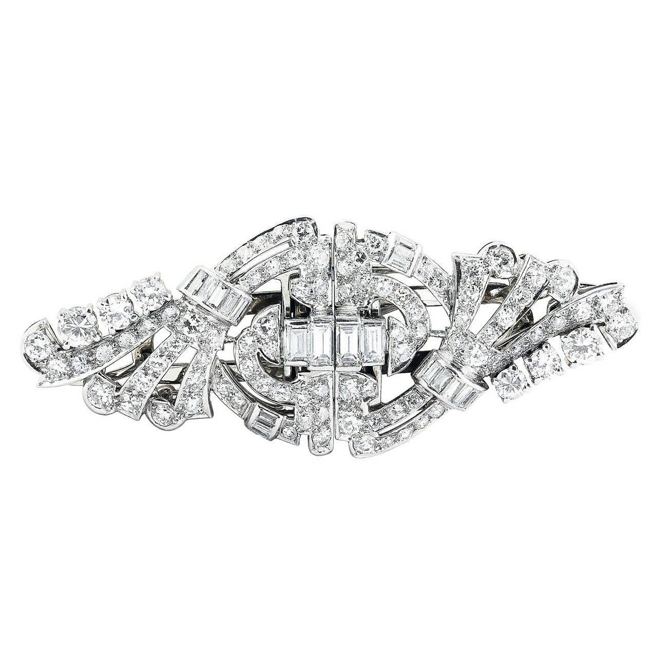 Art Deco 5.50 Carat Diamond Clips and Pin