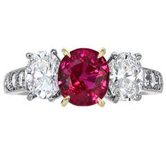 1.98 Carat Ruby Diamond Ring